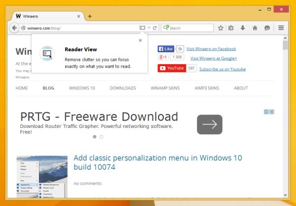Firefox 38 reader mode