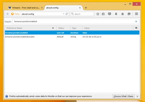 Firefox disable pocket integration