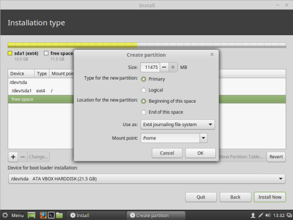 Linux mint create home partition