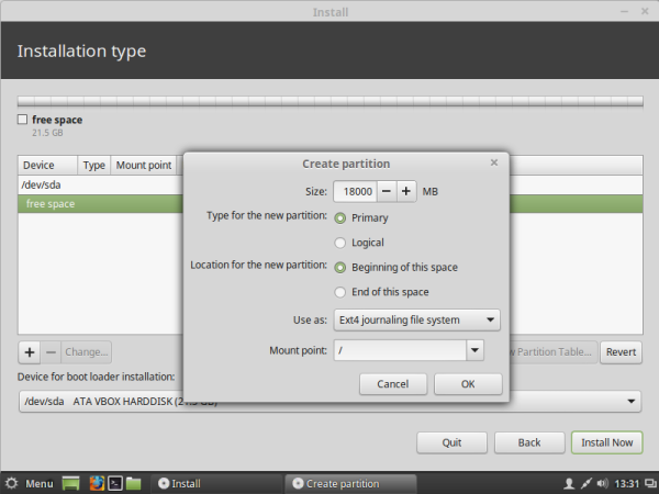 Linux mint create root partition