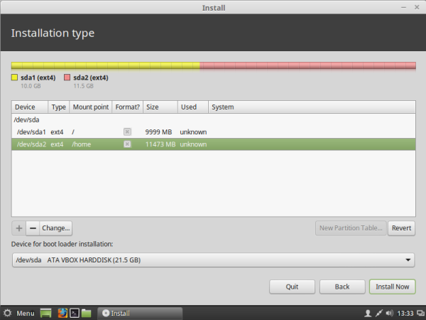Linux mint created partitions