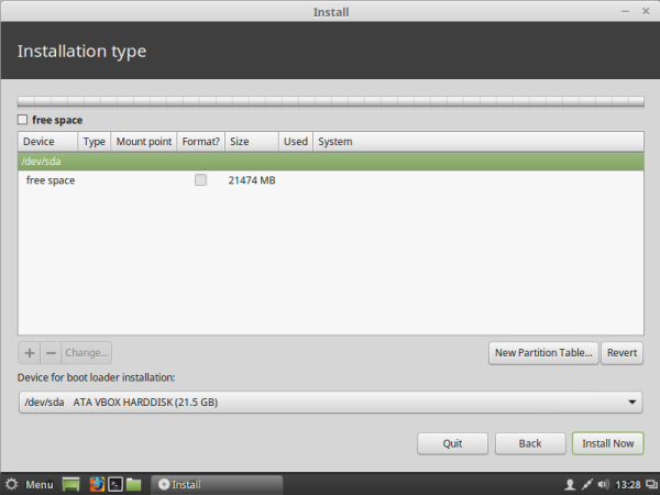 Linux mint no partitions on the drive