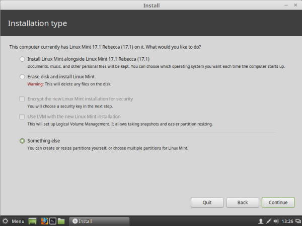 Linux mint partitions