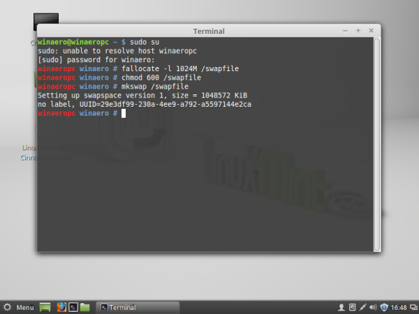 Linux mint swap file