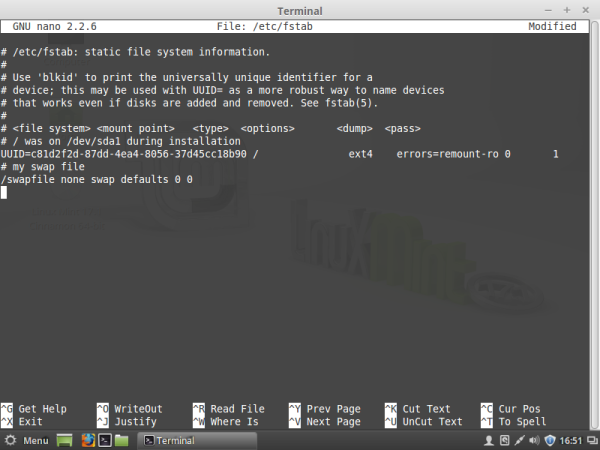Linux mint swap file in fstab