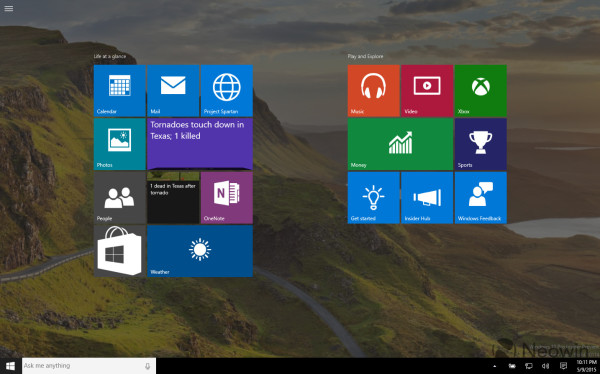 Technology Management Image: Windows 10 Build 10114 Features An Improved Start Menu