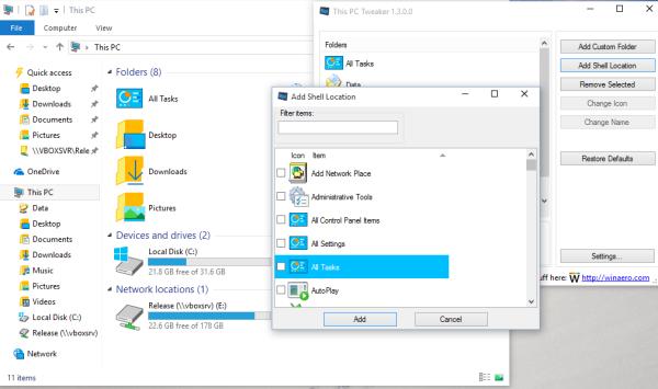 Windows 10 add shell location