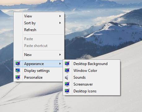Windows 10 classic appearance desktop menu