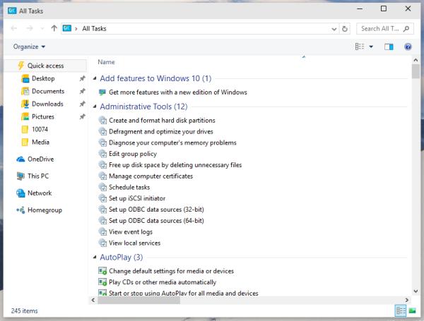 Windows 10 godmode all tasks