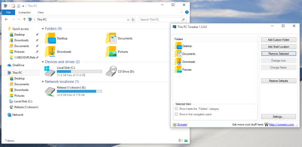 Windows 10 remove folders from this pc