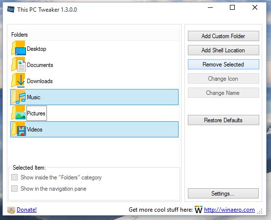 Windows 10 remove this pc folders