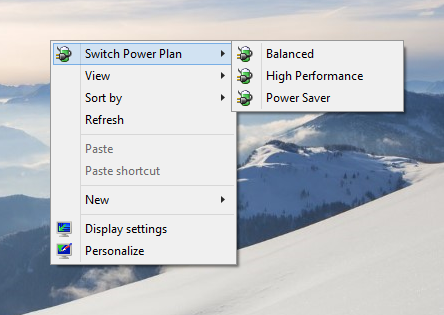 Windows 10 switch power plan context menu
