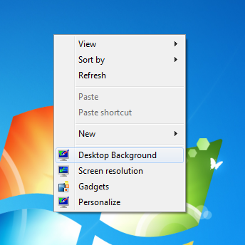 desktop background item desktop context menu