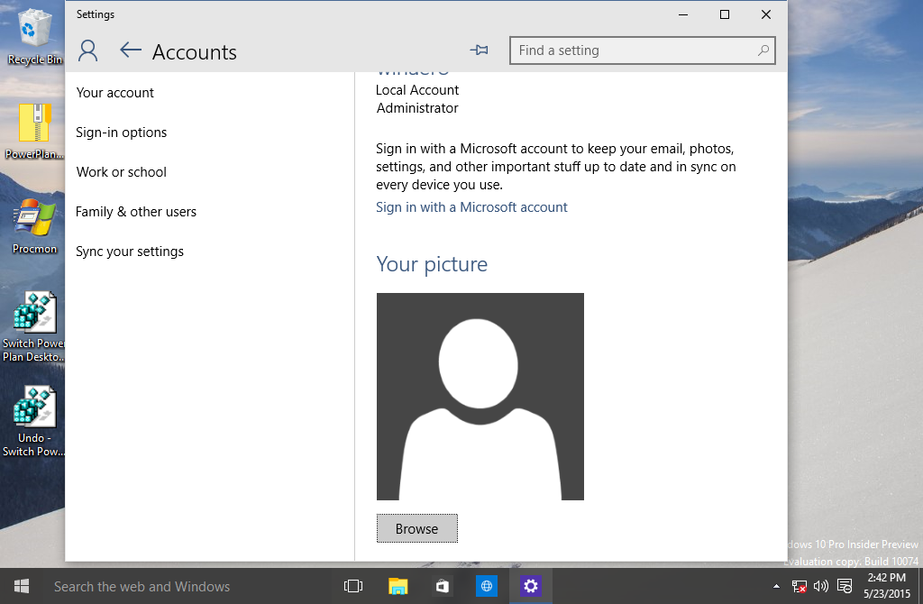 Windows 10 build 10122 has a new user account image