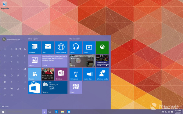 start menu with letters
