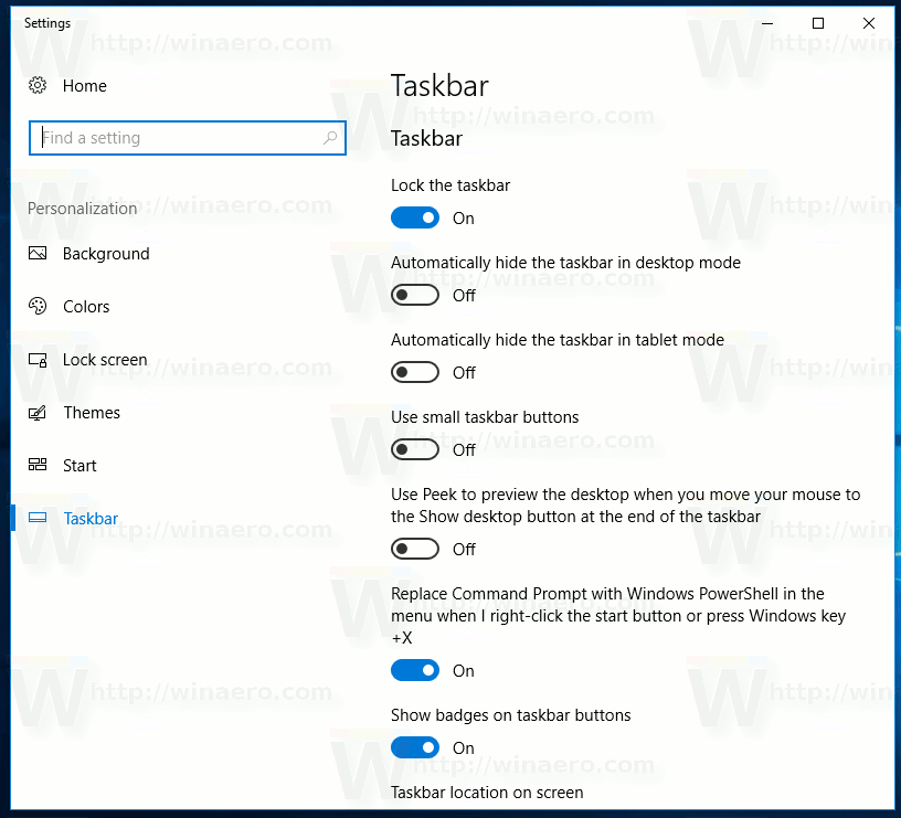 Taskbar Properties In Settings