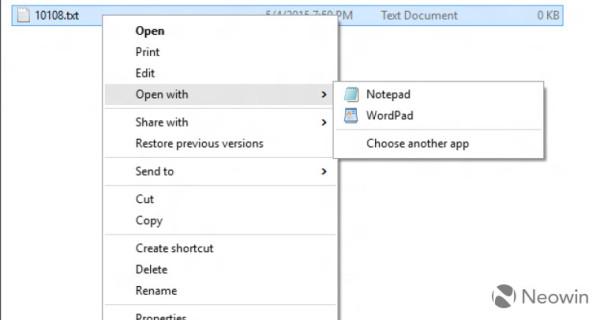 windows 10 build 10108 context menus