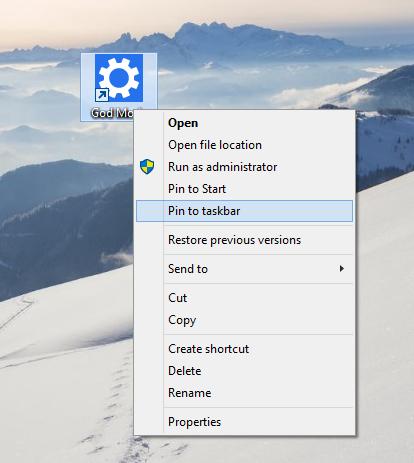 windows 10 god mode pin to taskbar