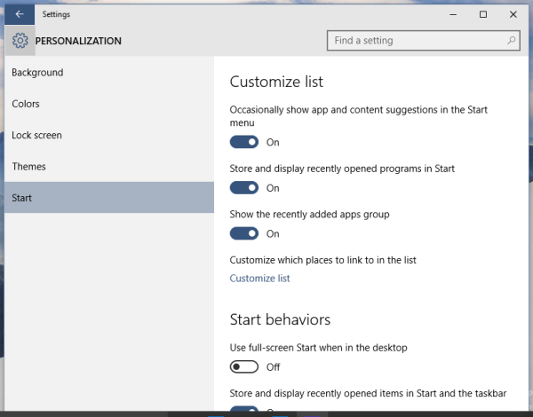 windows 10 personalization start