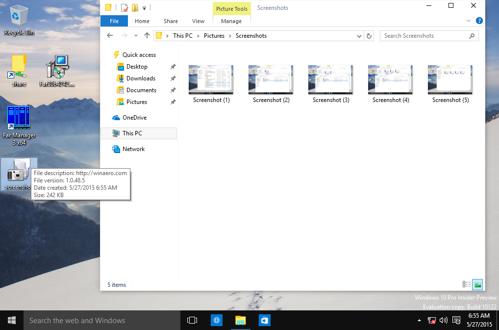 Shortcut to take screenshot in Windows 10