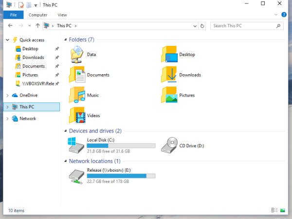 windows 10 this pc custom folder added