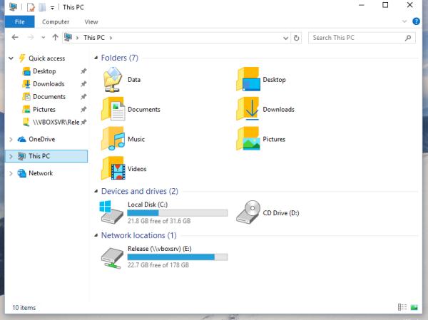 windows 10 this pc custom folder added