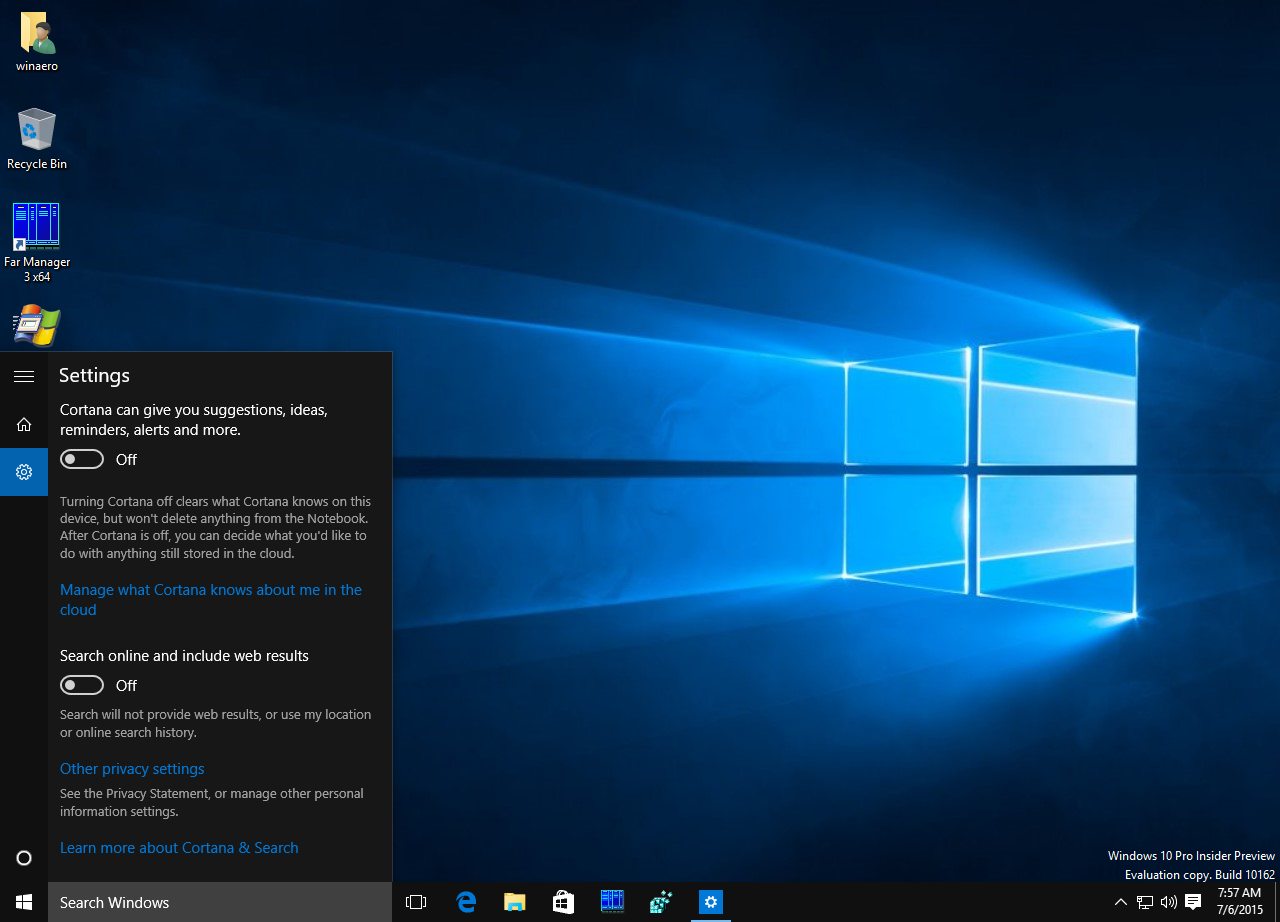 How to disable web search in windows 10 taskbar for Window opens off screen