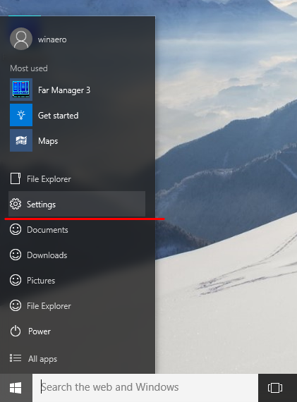 Windows 10 Start menu settings item