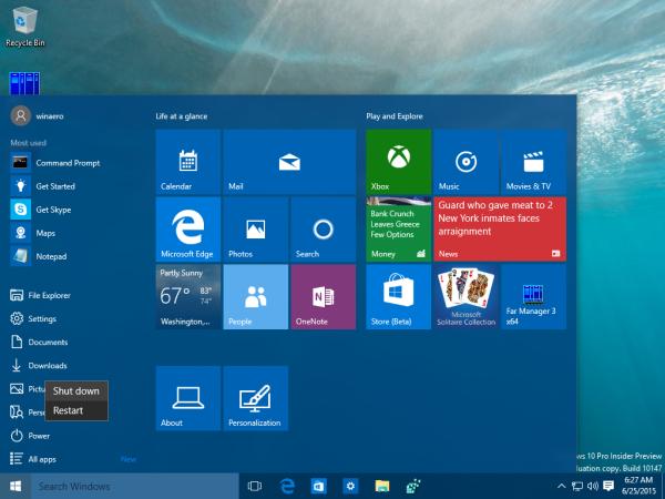Windows 10 Start menu shutdown