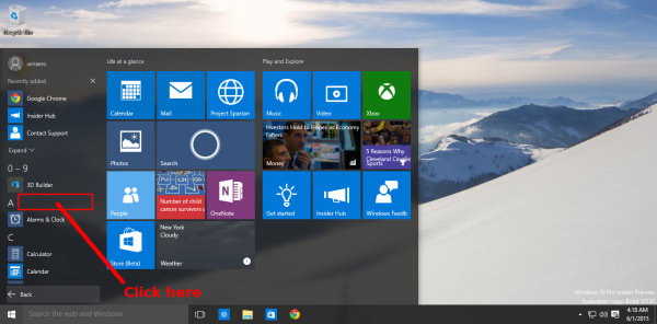 Windows 10 click near the group header
