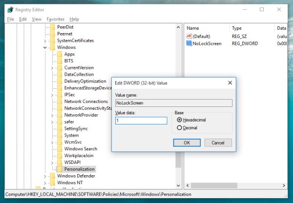 Windows 10 disable lock screen nolockscreen