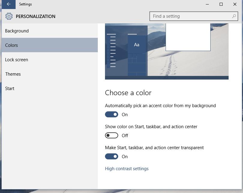 Add a custom color for taskbar to Windows 10 Settings app
