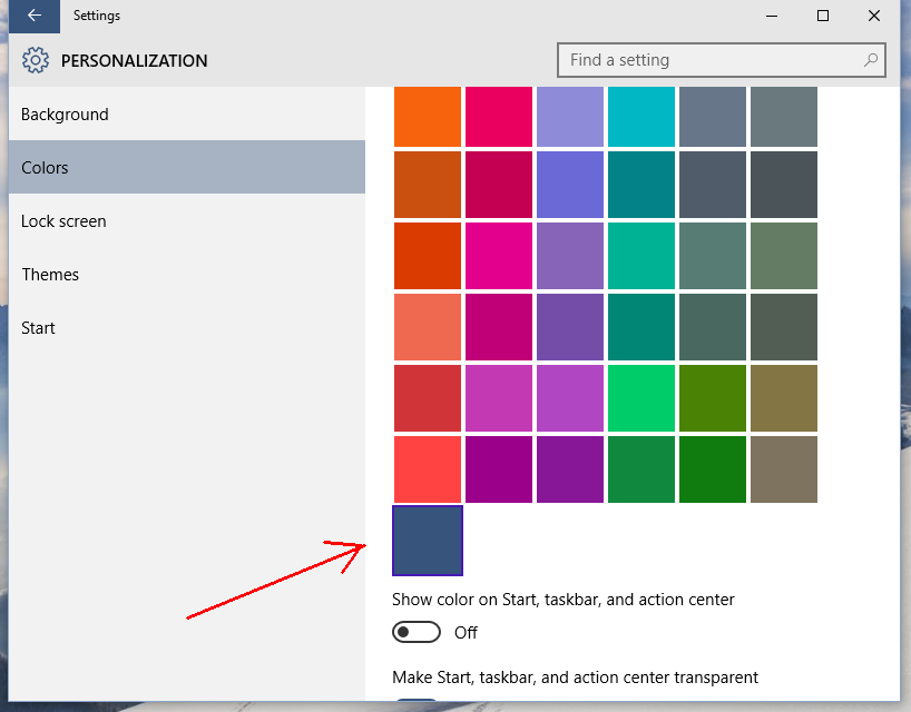 windows 10 personalization last color box