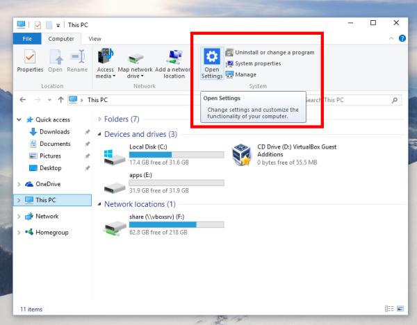 Windows 10 this pc settings icon