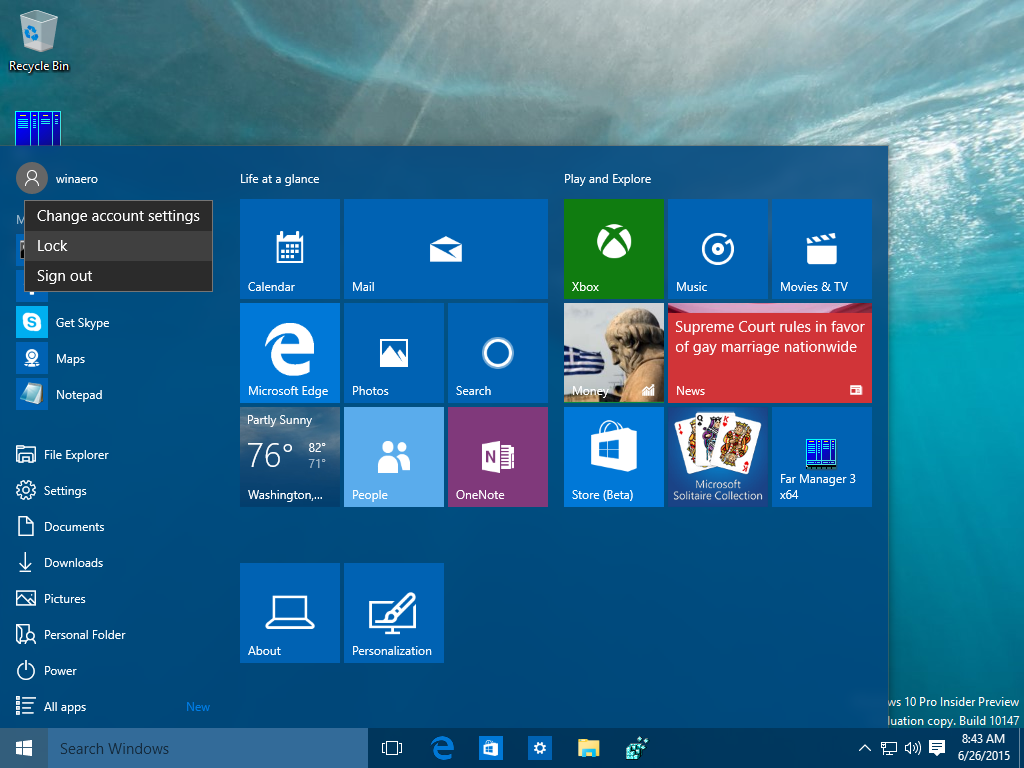 Lock Windows 10 from the Ctrl + Alt + Del security screen