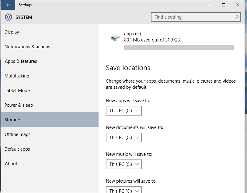 how to default download location windows 10