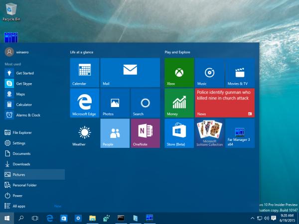 windows 10 build 10147 start menu