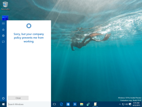 windows 10 cortana disabled