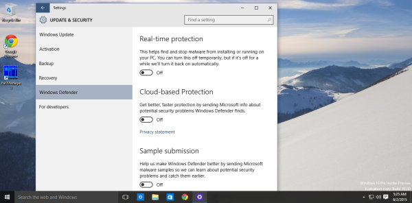 windows 10 defender disable options
