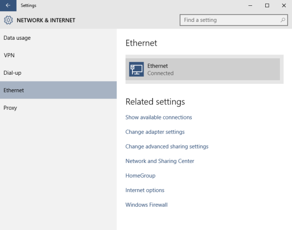 windows 10 ethernet ethernet