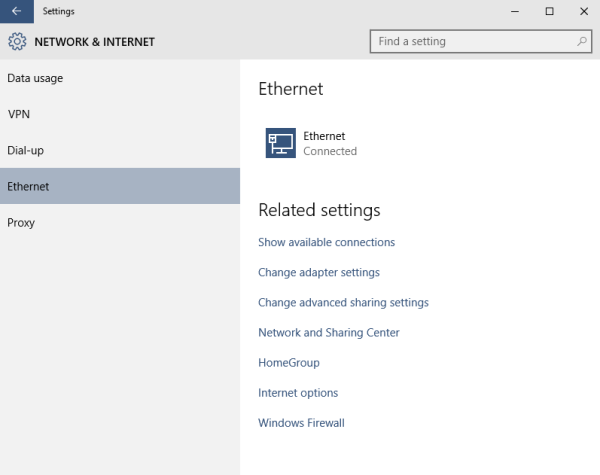 windows 10 ethernet page