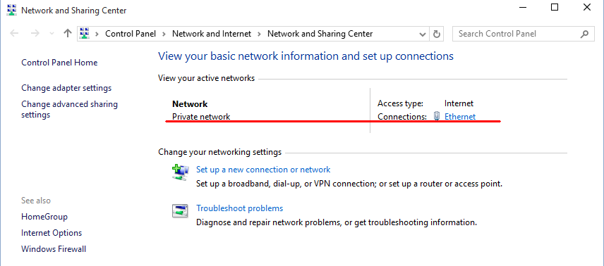 win 10 change to private network