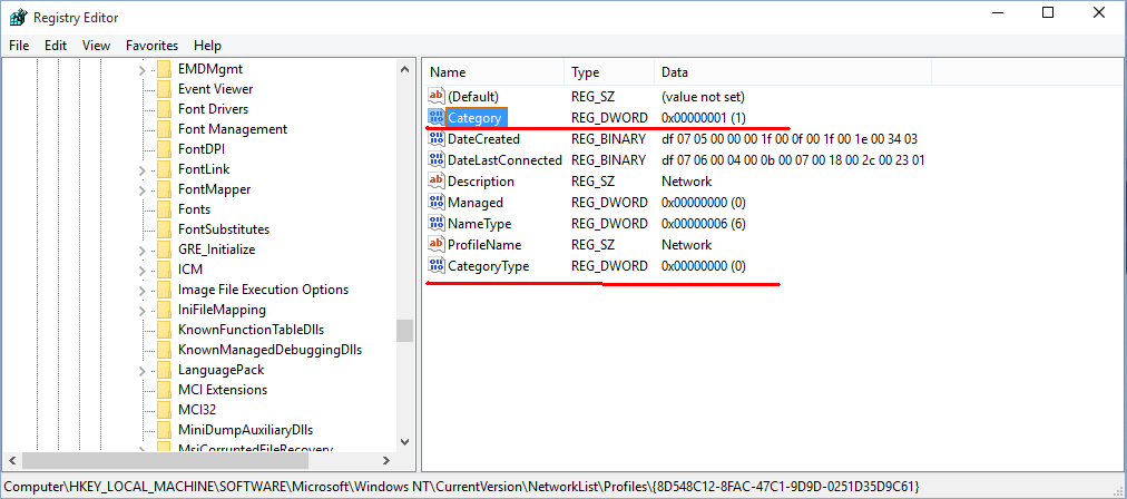 Change network location type (Public or Private) in Windows 10