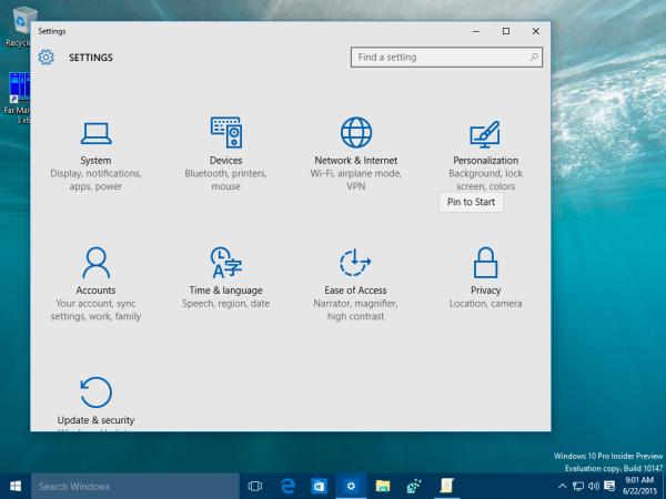 windows 10 settings category pin to start