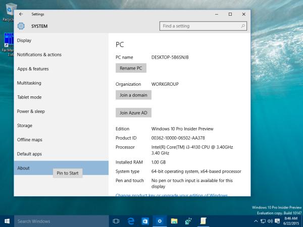 windows 10 settings pin to start