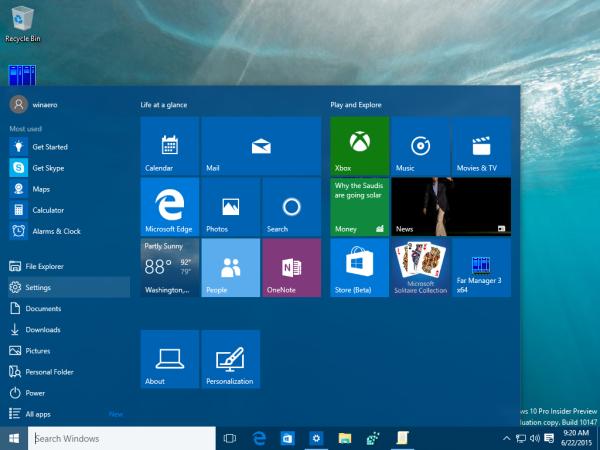 windows 10 settings start menu item