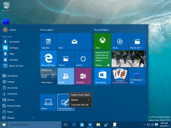 windows 10 settings unpin from start 1