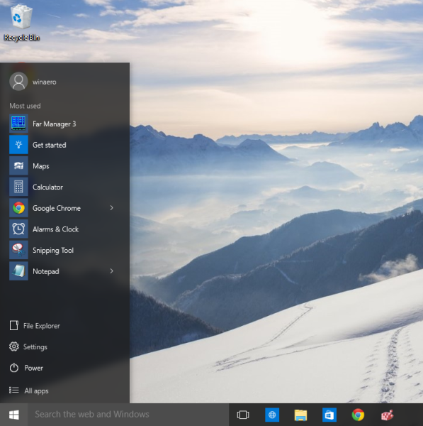 windows 10 single column Start menu