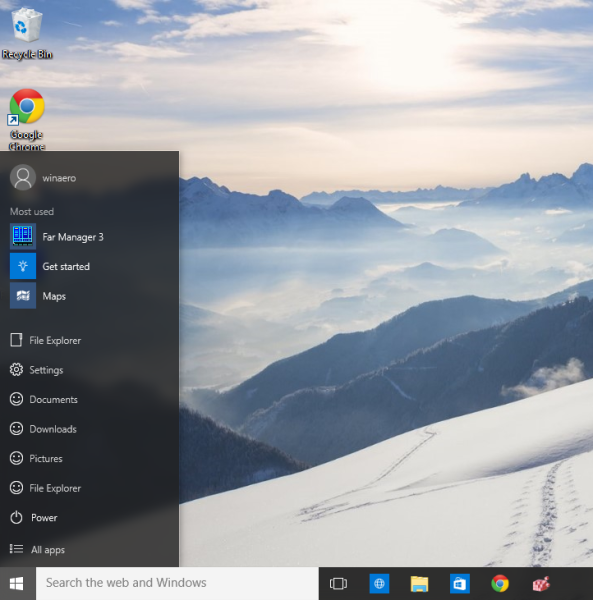 windows 10 single column Start menu final look