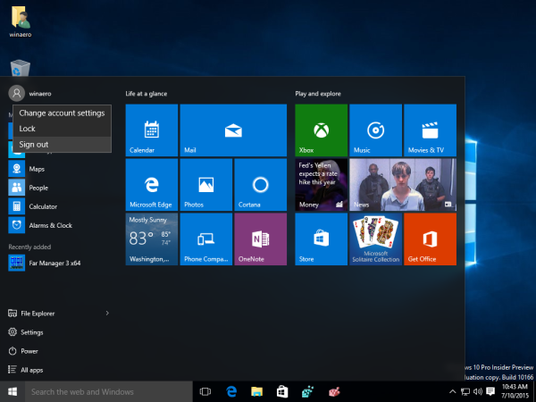 01 Windows 10 Start menu sign out